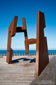 Travel photography:Sculpture by Jorge Oteiza on the Paseo Nuevo in San Sebastian, Spain