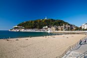 Travel photography:View of the Isla de Santa Klara and la Concha beach in San Sebastian, Spain