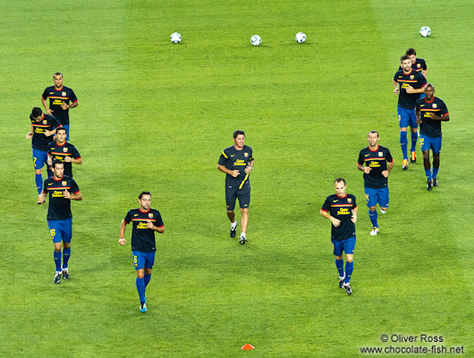 FC Barcelona warm-up before the match