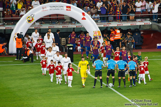 The teams appear before the start of the match
