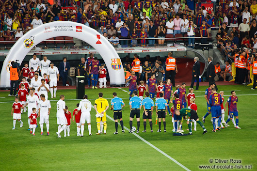 The teams line up before the start of the match