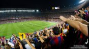 Travel photography:Spectarors celebrate the 2:1 lead for Barcelona, Spain