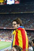 Travel photography:Spectator with Catalan flag, Spain