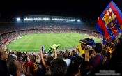 Travel photography:Spectators celebrate the victory of the Supercup 2011 by the FC Barcleona in their home stadium in Camp Nou, Spain