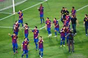 Travel photography:The team of FC Barcelona on their victory lap after winning the Supercup 2011, Spain