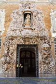 Travel photography:Alabaster entrance to the Palau del Marqués de Dosaigües in Valencia, Spain