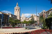 Travel photography:Plaça de la Reina with cathedral in Valencia, Spain