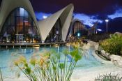 Travel photography:The Valencia Aquarium by night, Spain