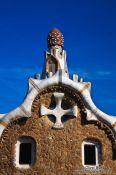 Travel photography:Facade detail of the Gaudi house in Barcelona´s Güell Park, Spain