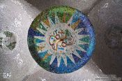 Travel photography:Ceiling detail in the lower court of Park Güell, Spain