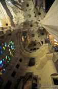 Travel photography:Ceiling construction inside the Sagrada Familia Basilica in Barcelona (State of 2002), Spain