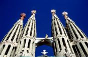 Travel photography:The towers of the Sagrada Familia Basilica in Barcelona, Spain