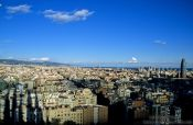 Travel photography:View of the city from the Sagrada Familia Cathedral in Barcelona, Spain