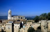 Travel photography:The church within the old city of Girona, Spain