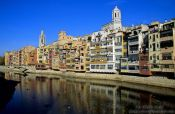 Travel photography:Houses along the Ter river in Girona, Spain