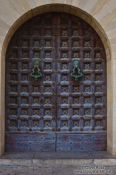 Travel photography:Old wooden door in Sitges, Spain