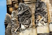 Travel photography:Facade detail on a temple at Sukhothai, Thailand