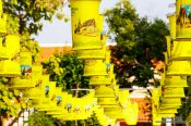 Travel photography:Row of lanterns at a temple in old Sukhothai, Thailand