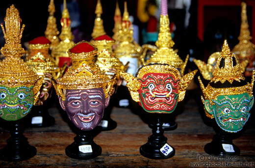 Models of traditional Thai masks.