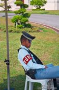 Travel photography:Sleeping guard at Dusit Palace , Thailand