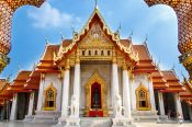 Travel photography:The marble temple Wat Benchamabophit in Bangkok, Thailand