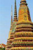 Travel photography:The Three Giant Stupas at Wat Pho temple in Bangkok, Thailand
