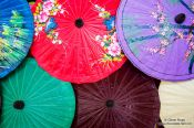 Travel photography:Finished parasols at the Bo Sang parasol factory, Thailand