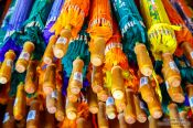 Travel photography:Finished parasols for sale at the Bo Sang parasol factory, Thailand