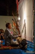 Travel photography:Behind the scenes view of a shadow puppet performance in Trang, Thailand