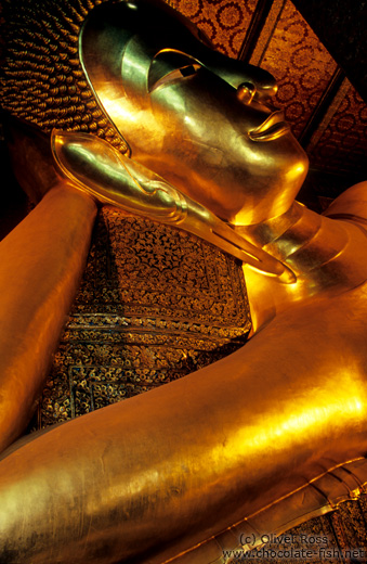 Giant reclining Buddha at Wat Pho, face detail.