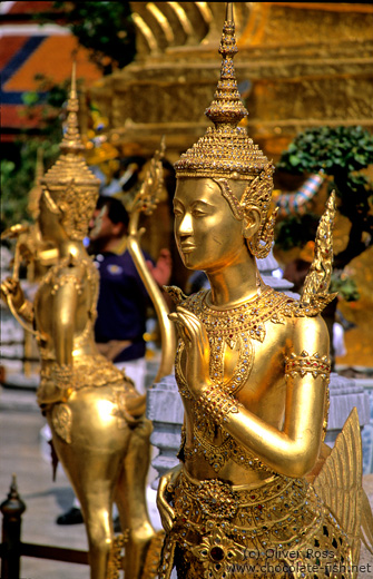 Golden Kinnara figures at Wat Phra Kaew in Bangkok