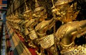 Travel photography:Row of golden garuda figures outside the main building of Wat Phra Kaew in Bangkok, Thailand