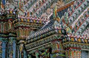 Travel photography:Facade detail at Wat Phra Kaew in Bangkok, Thailand