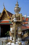 Travel photography:Giant guardian at Wat Phra Kaew in Bangkok, Thailand
