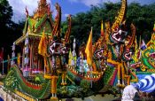 Travel photography:Decorated carts at a festival in Trang, Southern Thailand, Thailand