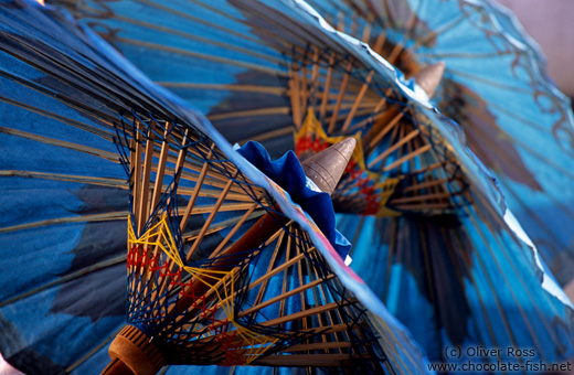 Finished blue parasols at the Bo Sang parasol factory