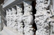 Travel photography:Facade detail at the Chiang Rai Silver Temple, Thailand