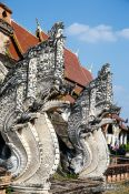 Travel photography:Sculpted staircases at Chedi Luang Worawihan in Chiang Mai, Thailand