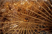 Travel photography:Wooden parasol frames at the Bo Sang parasol factory, Thailand