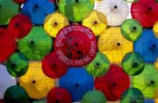 Travel photography:Parasol display at the Bo Sang parasol factory, Thailand