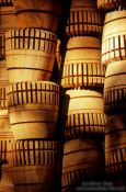 Travel photography:Wooden parasol sockets at the Bo Sang parasol factory, Thailand
