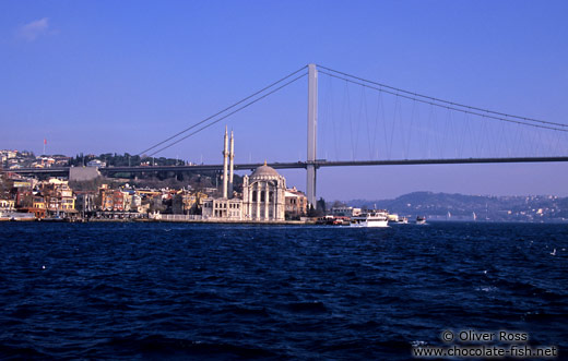 The European side of the Bosporus bridge with Ortaköy mosque