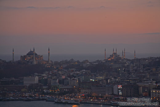 The Ayasofya (Hagia Sofia) left and the Sultanahmet (Blue) Mosque at dusk