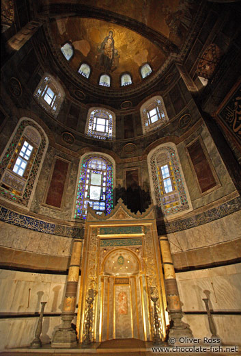 The main altar with the mihrab pointing to Mekka within the Ayasofya (Hagia Sofia)