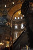 Travel photography:View of the main altar and the mosaic above inside the Ayasofya (Hagia Sofia), Turkey
