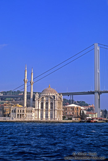 Ortaköy mosque below the Bosporus bridge