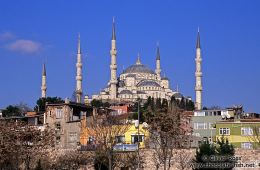 The Sultanahmet (Blue) Mosque viewed from the Marmara Sea coast