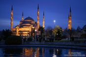Travel photography:Sultanahmet (Blue) Mosque after sunset, Turkey