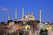 Travel photography:The Sultanahmet (Blue) Mosque viewed from the Marmara Sea coast, Turkey