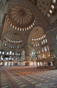 Travel photography:Main prayer room of the Sultanahmet (Blue) Mosque, Turkey